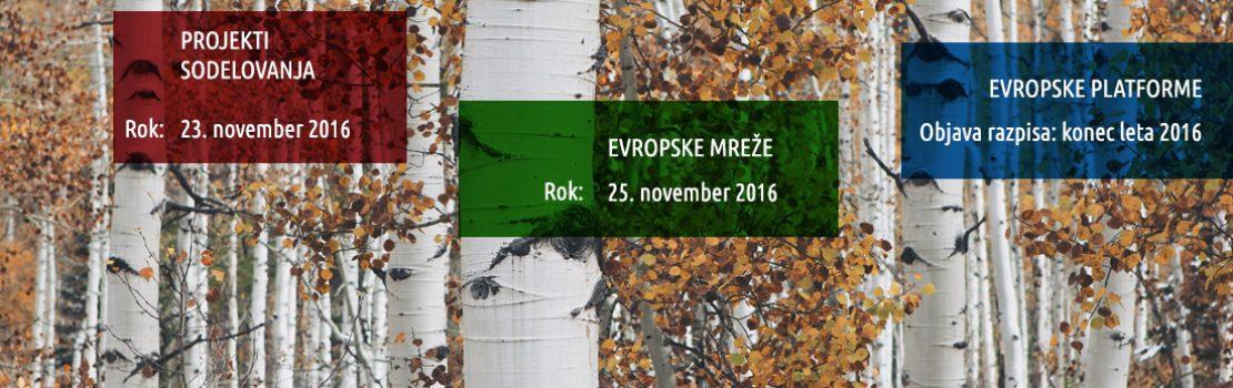 Jesenski razpisi podprograma Kultura za leto 2017